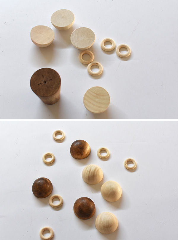 Wooden Candlestick pieces and shapes