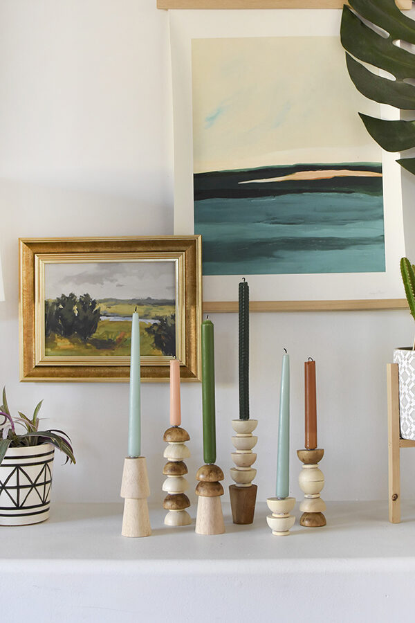DIY Wooden Candlestick Holders