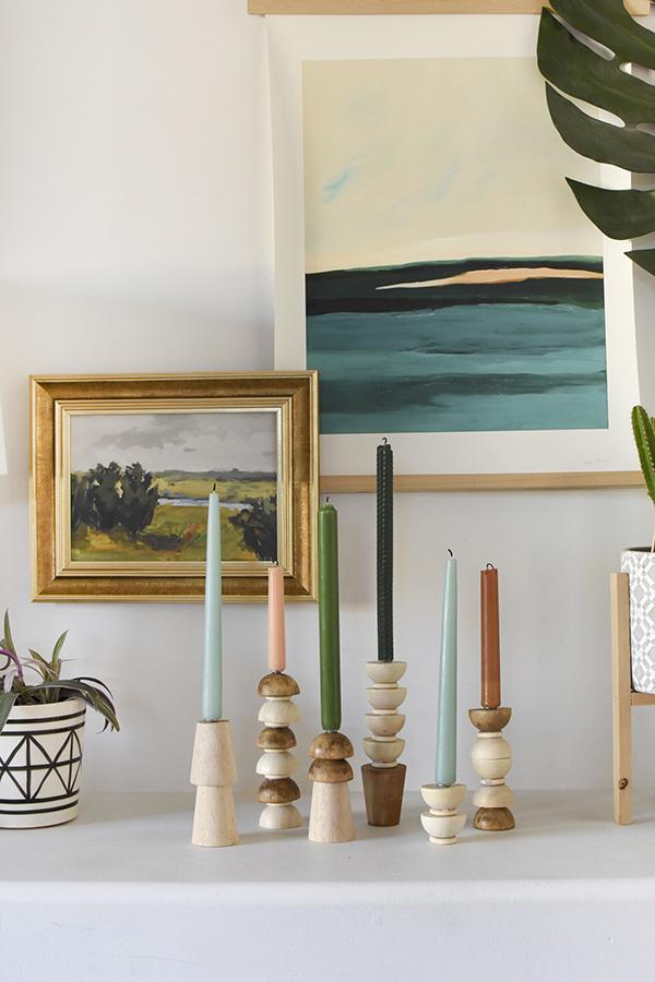 DIY Wooden Candlestick Holders