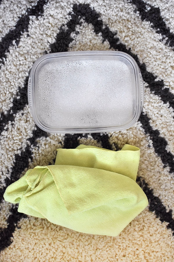 Soap, Water and Microfiber Cloth for cleaning plant leaves