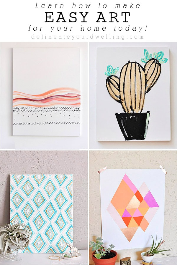 It is much easier than you may think to create and make your own artwork!  And did I mention significantly more budget friendly.  See all these easy artwork ideas, tips and tricks to creating your own custom masterpieces for when you think you can't create art. Delineate Your Dwelling #easyart #easyartwork #arthomedecor