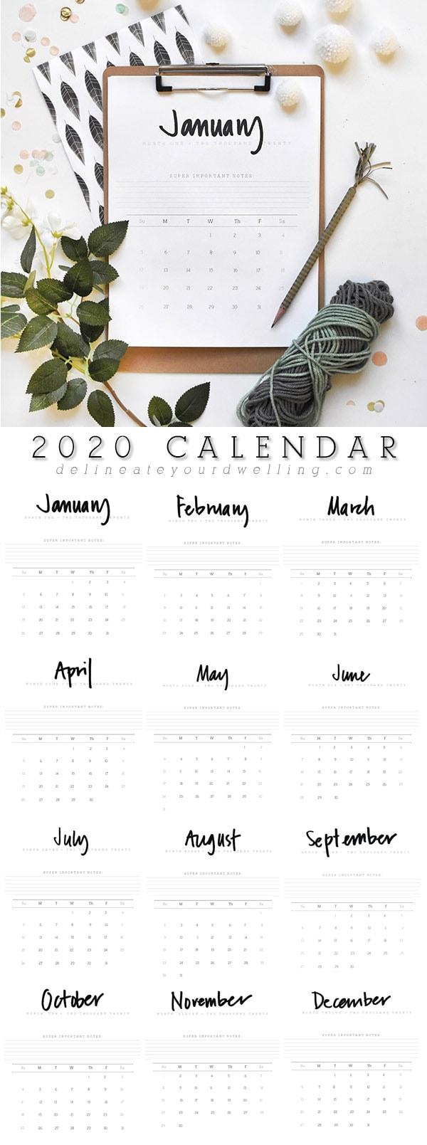 2020 Printable FREE Hand Lettered Calendar