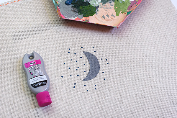 Moon and Stars Modern Embroidery Painting steps