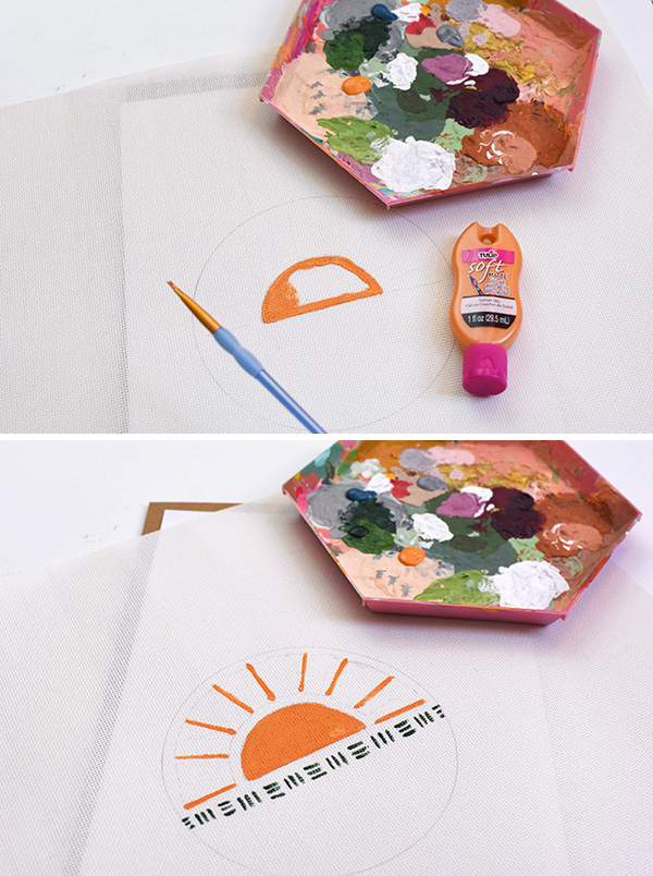 Rising Sun Modern Embroidery Painting steps