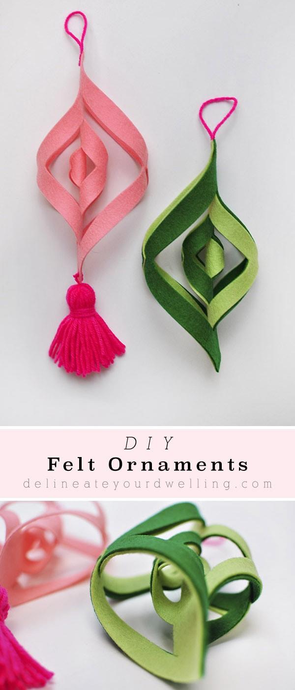 Felt Ornaments Green Pink