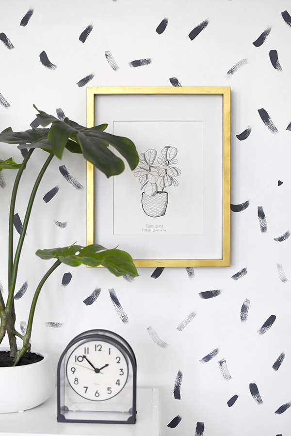 Fiddle Leaf Fig BW Print and Gold Frame