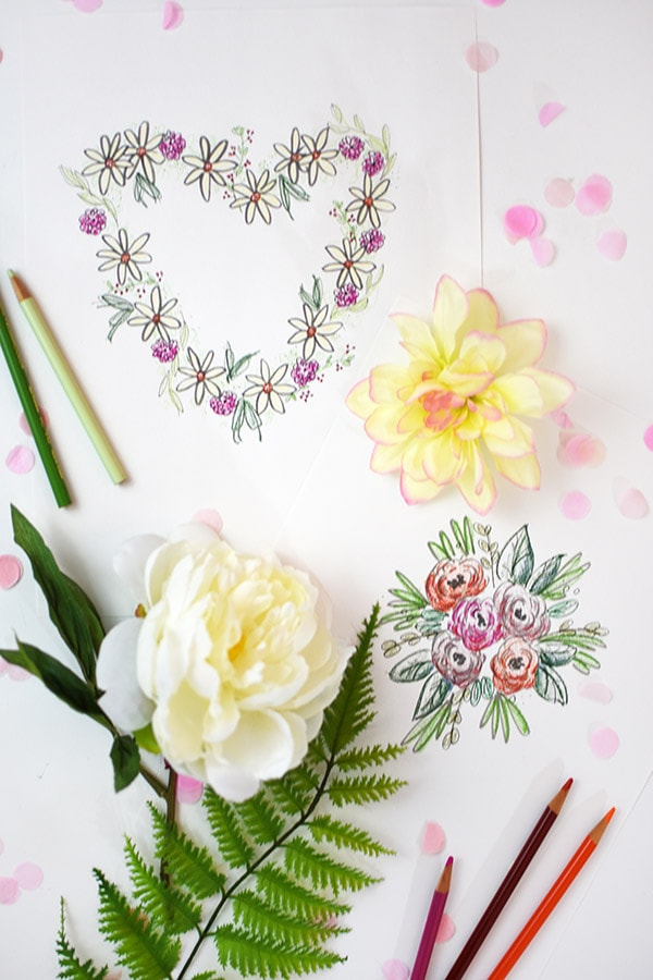 Enjoy a relaxing evening on Galentine's Day or Valentine's Day with these fun Floral Coloring Pages! Delineate Your Dwelling #galentinesdaycoloringpages #valentinesdaycoloringpages #coloringpages
