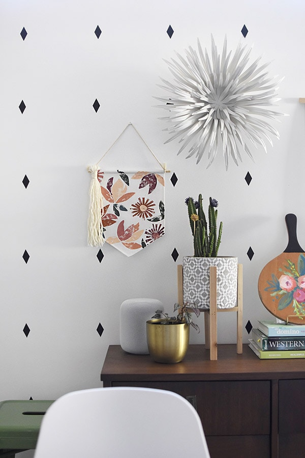 DIY Stamped Flower Wall Banner