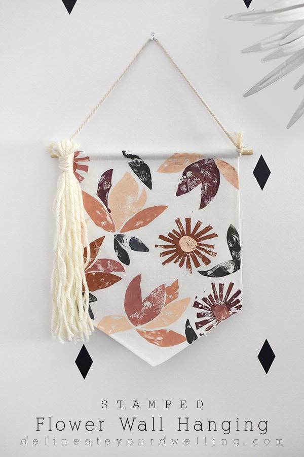 DIY Stamped Flower Wall Hanging