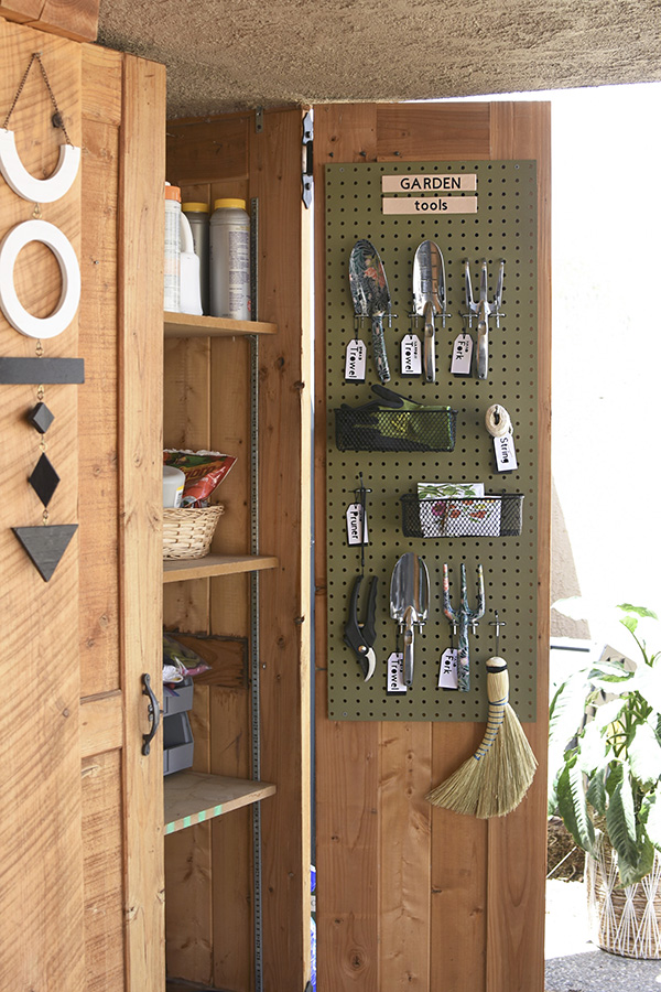 Backyard Garden Tool Pegboard Organization closet