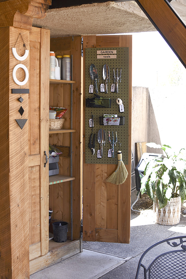 Garden Tool Pegboard Organization