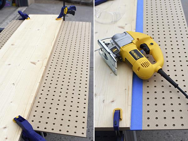 Cutting a pegboard with a jigsaw