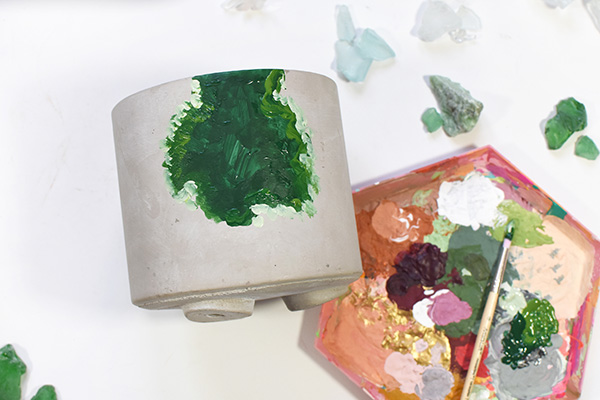 Painted Green Geode Pot