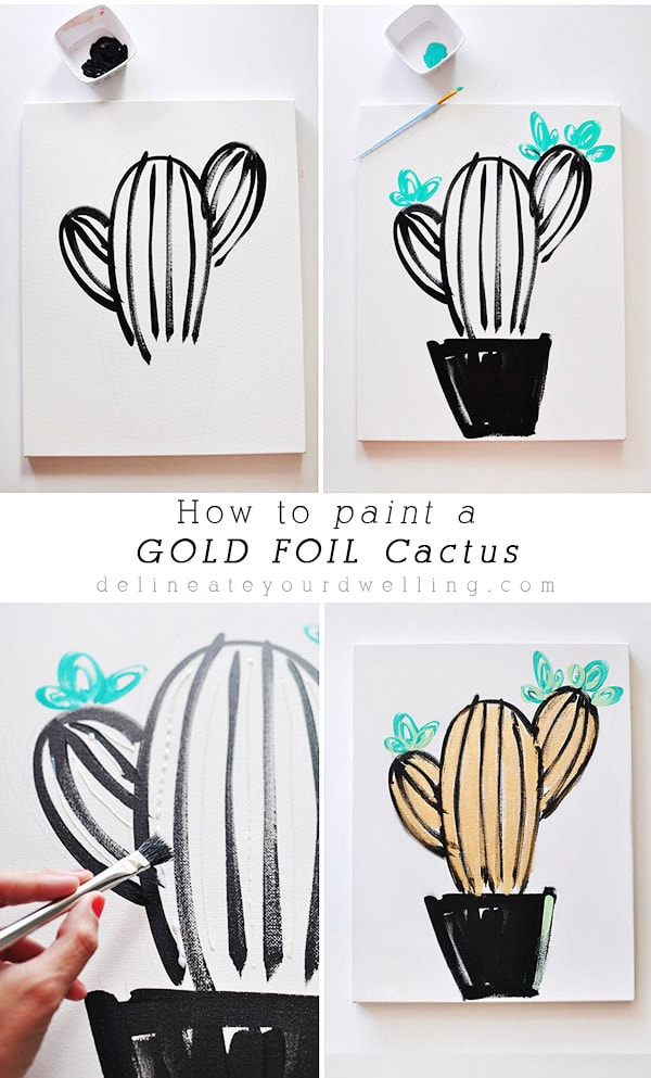 Learn the easy step by step instructions to create inexpensive wall art. Tips on how to draw or paint a gold foil cactus or simple succulent! You can become your very own artist. Delineate Your Dwelling #cactusart #drawcactus