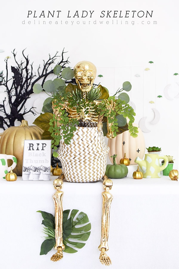 Gold Plant Lady Skeleton