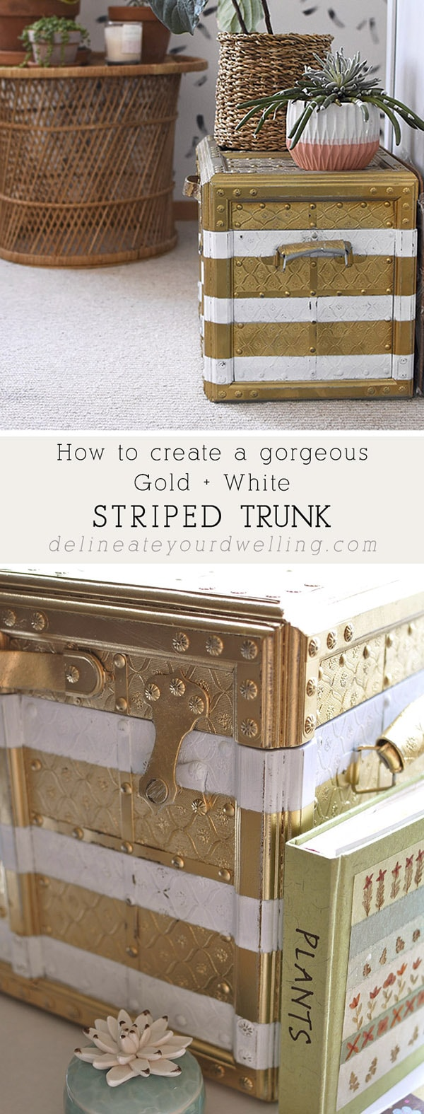 Gold White Stripes Painted Trunk