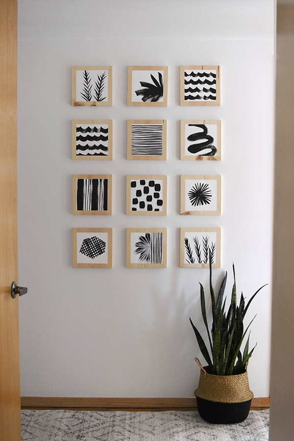 Hallway update - Black and White patterned block art