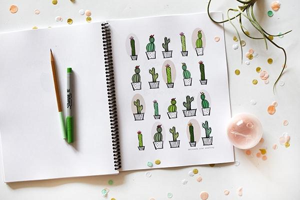 Happy Houseplants ebook, Cactus hand-drawn graphic design