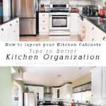Tips for How to organize Kitchen Cabinets based on their contents.  What items go where and in the most ideal locations as possible. The perfect how-to for your kitchen cupboard layout!