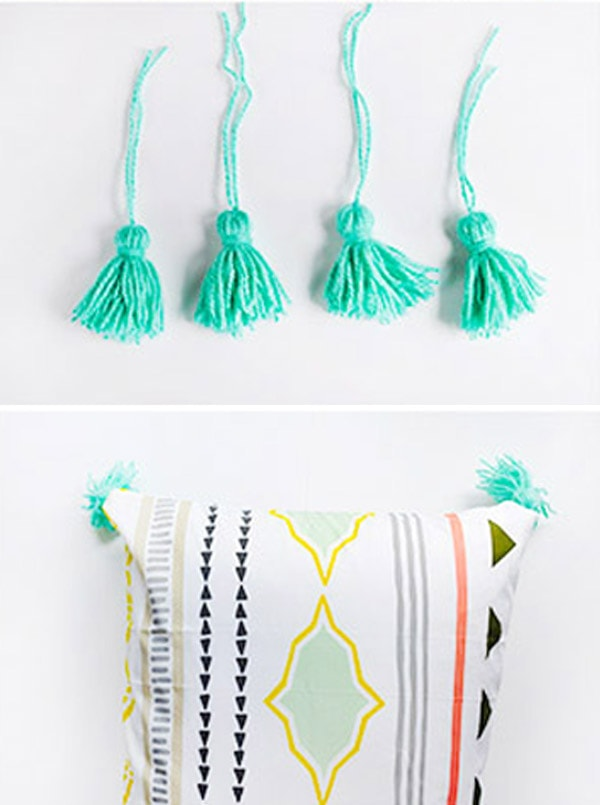 Aqua Tassels on pillow
