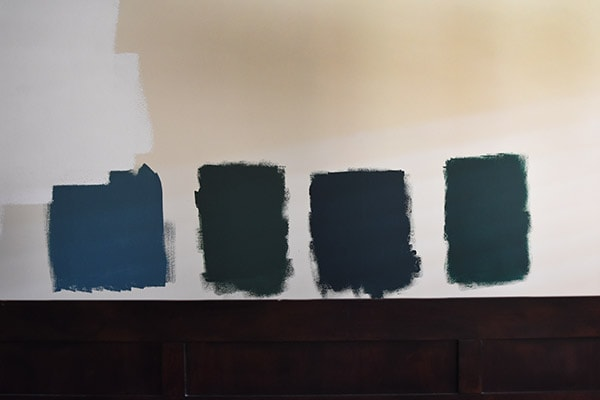 Master Bedroom Paint samples on wall