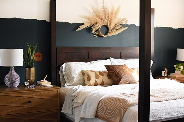 Dark Teal Eclectic Master Bedroom