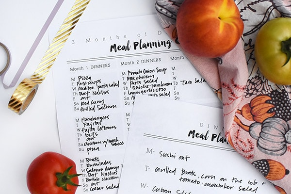 Planning Sheets for Meals