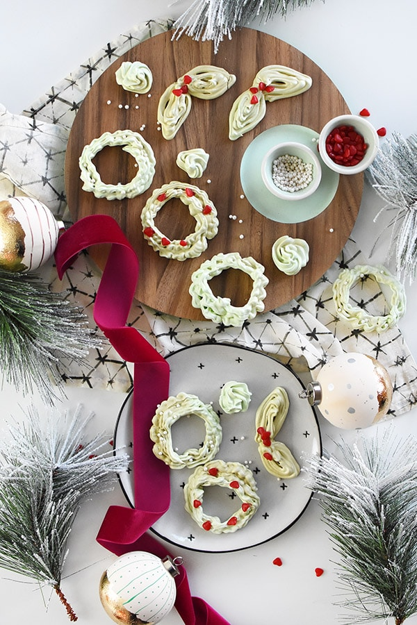 Holiday Meringue Cookie Wreath recipe