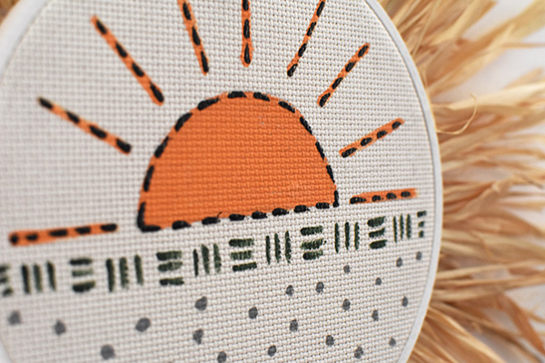 Faux Rising Sunshine Modern Embroidery hoop