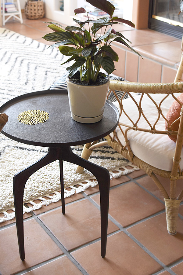 Minimalist side table with plant