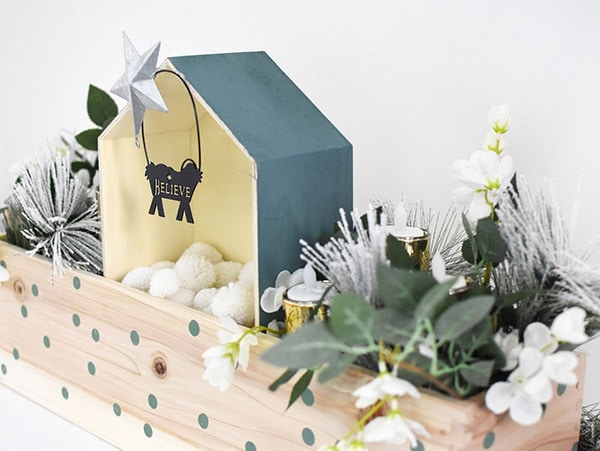 Modern Wood and Teal Nativity Manger