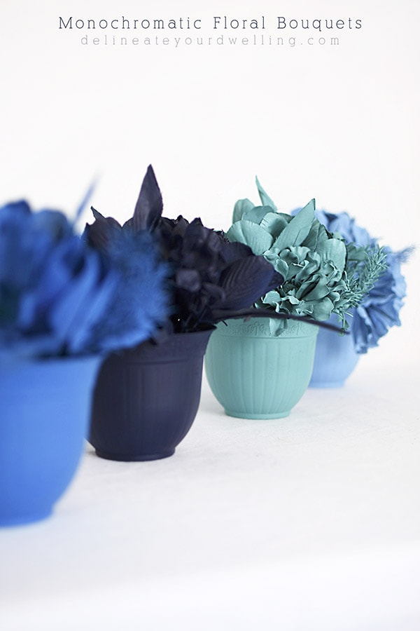 Learn how to arrange and make a stunning Monochrome Flower Bouquet displays for your table this spring!  Use your favorite colors to create this fun crafty color blocked look. Delineate Your Dwelling #monochromatic #blueart #floralbouquets