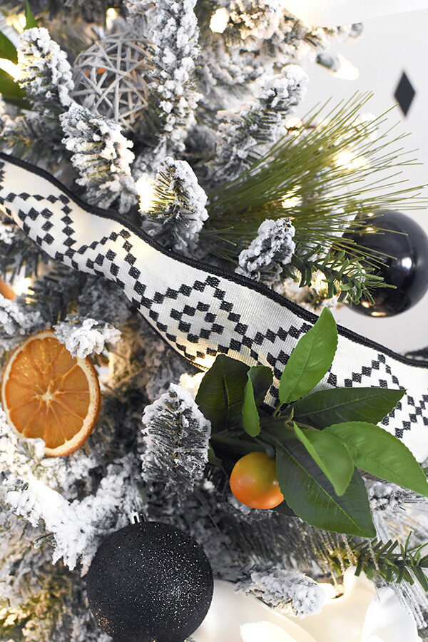 Closeup of Black and Orange ornaments