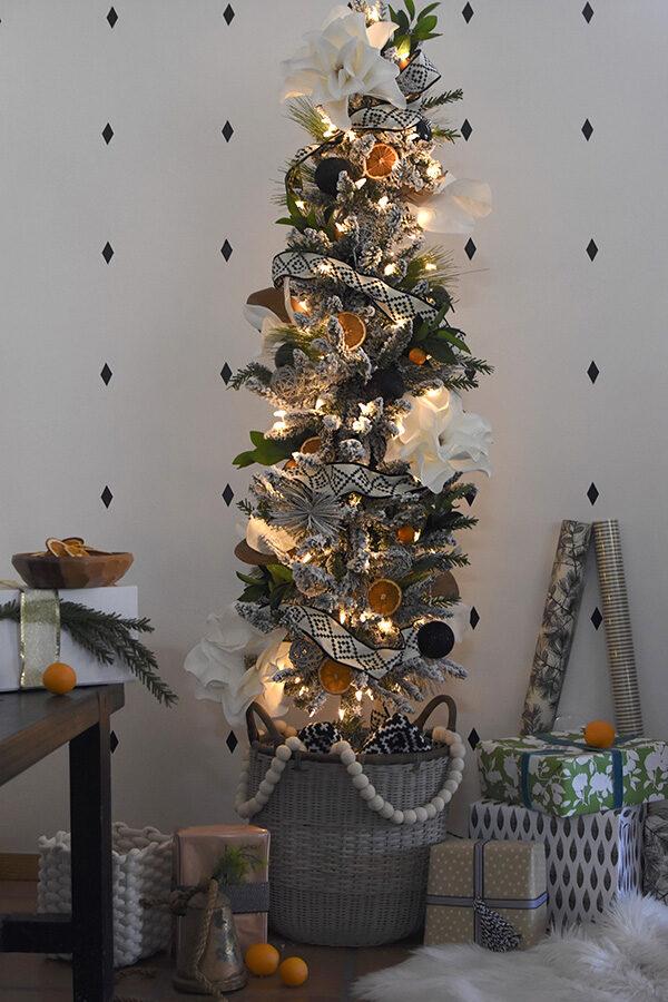 Night Time Flocked Christmas Tree
