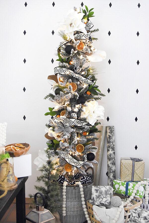 Flocked Christmas Tree with orange slices