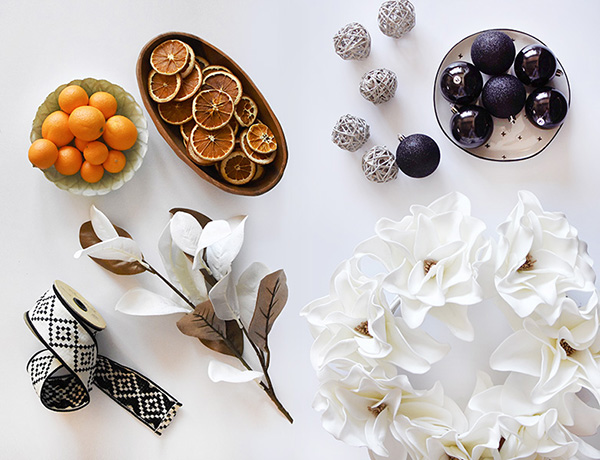 Oranges, Black and White Ornaments