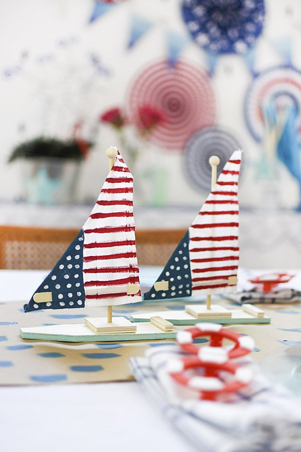 Painted American Flag Sailboats