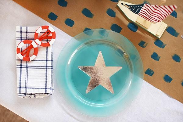 Aqua + Silver star plate