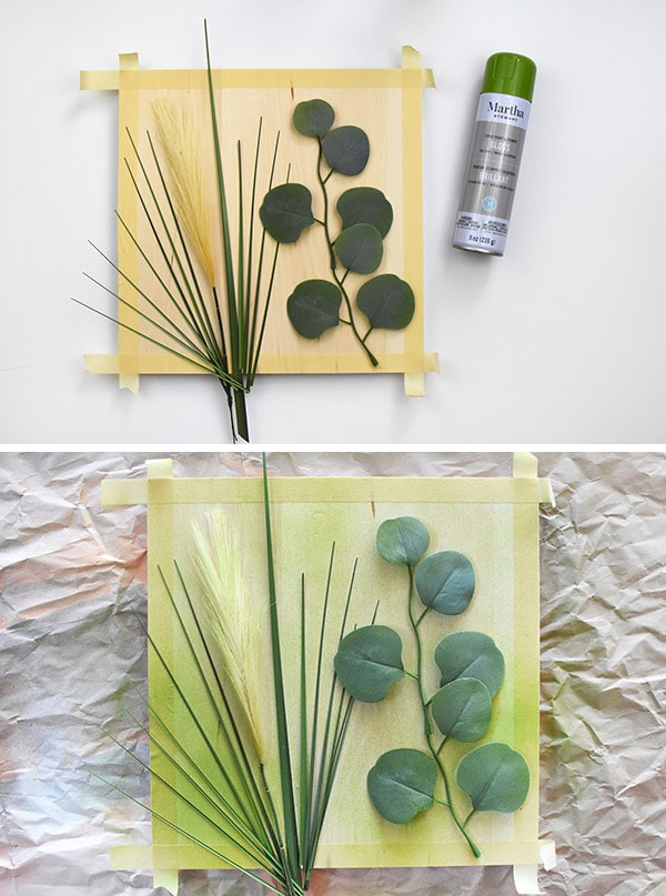 Negative Space Nature Art - add green spray paint