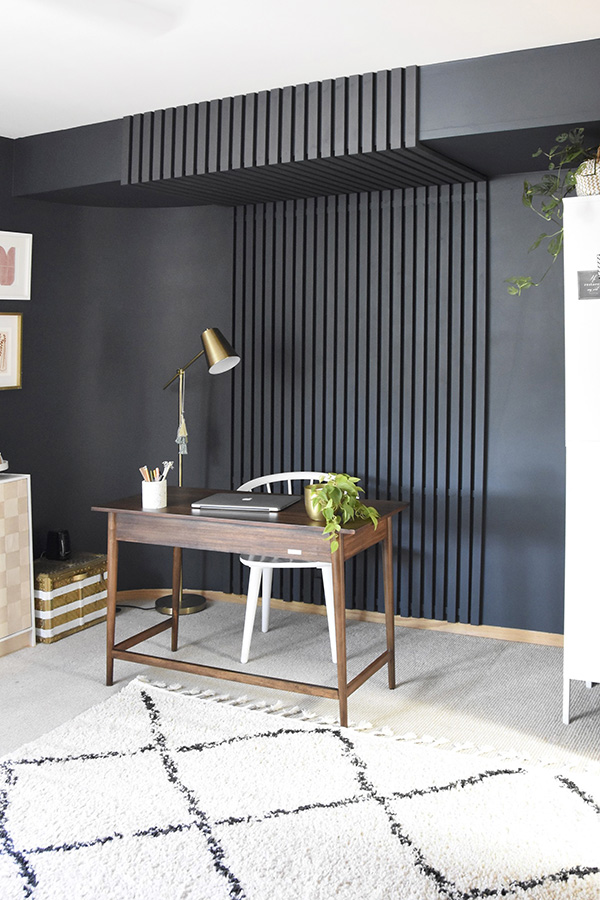 Dark Slatted Wood Accent Wall