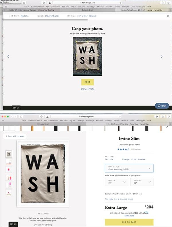 Ordering Framebridge frames online