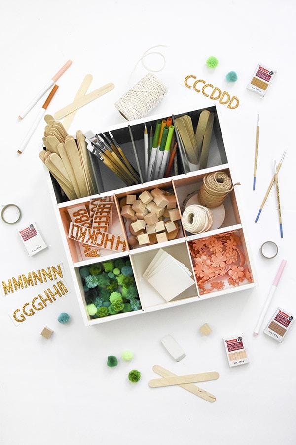 Colorful Organized Art Supplies