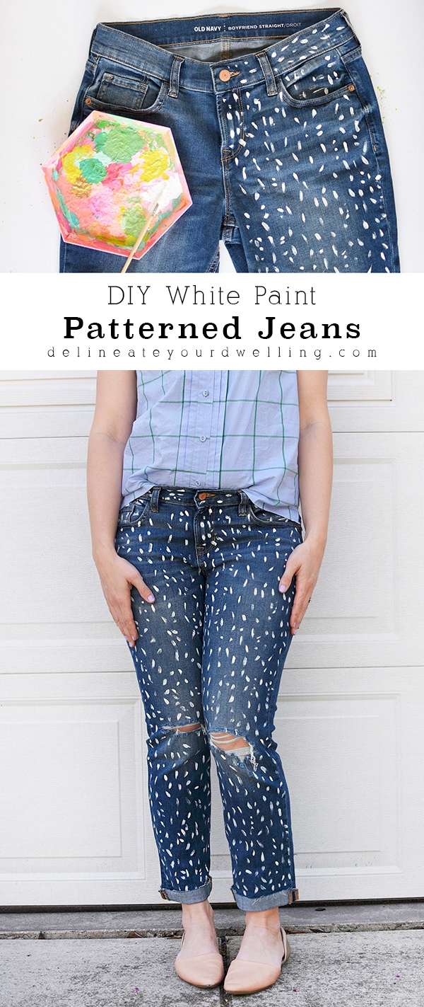 DIY White Paint Patterned Jeans
