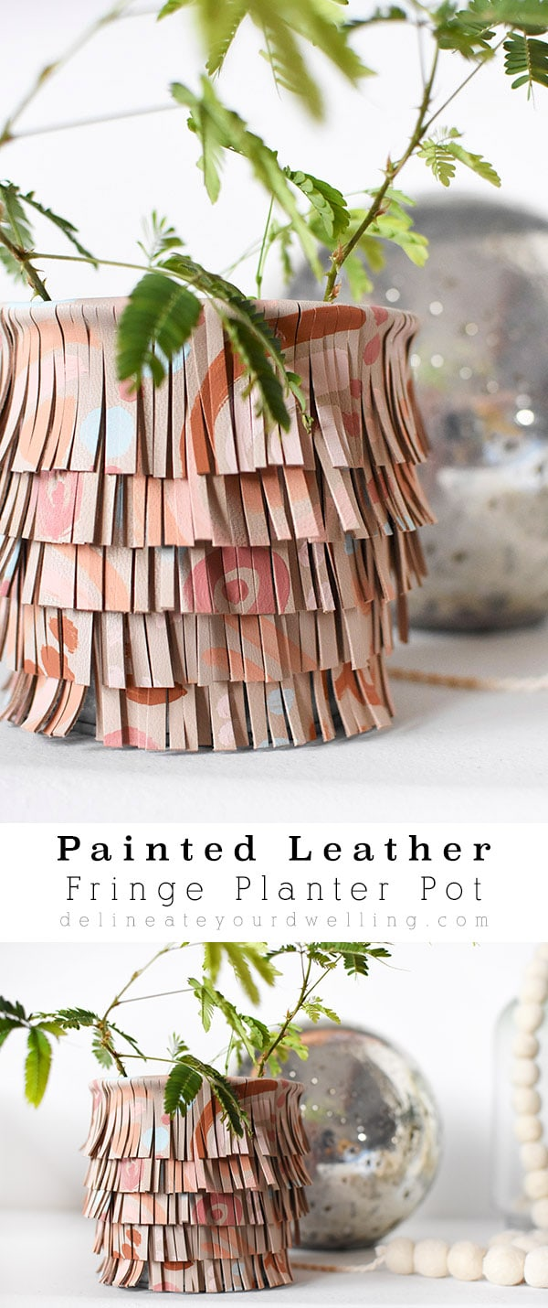 Painted Fringe Leather Pot
