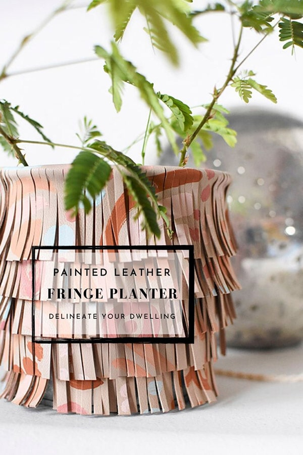 Painted Fringe Leather Planter
