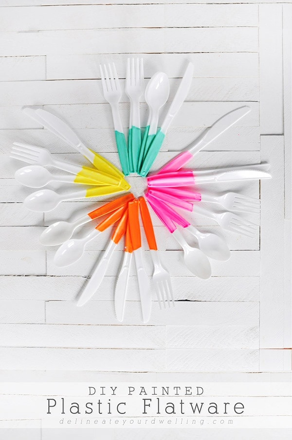 Learn how to elevate your next party by creating this simple DIY Painted Plastic Flatware in literally 15 minutes for your next party or event!  A great party hack. Delineate Your Dwelling #partyhack #paintedflatware