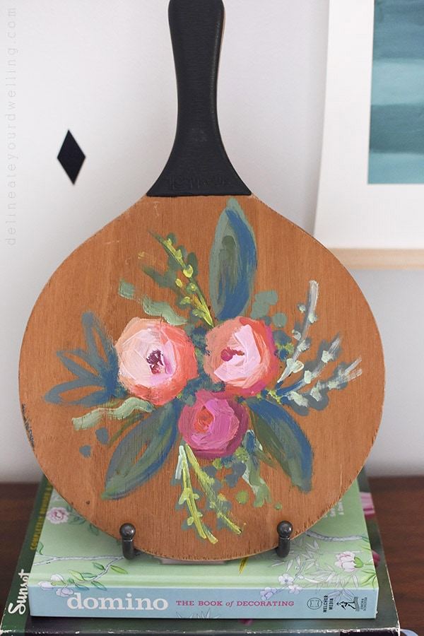 Painted Abstract Flowers on wooden paddle