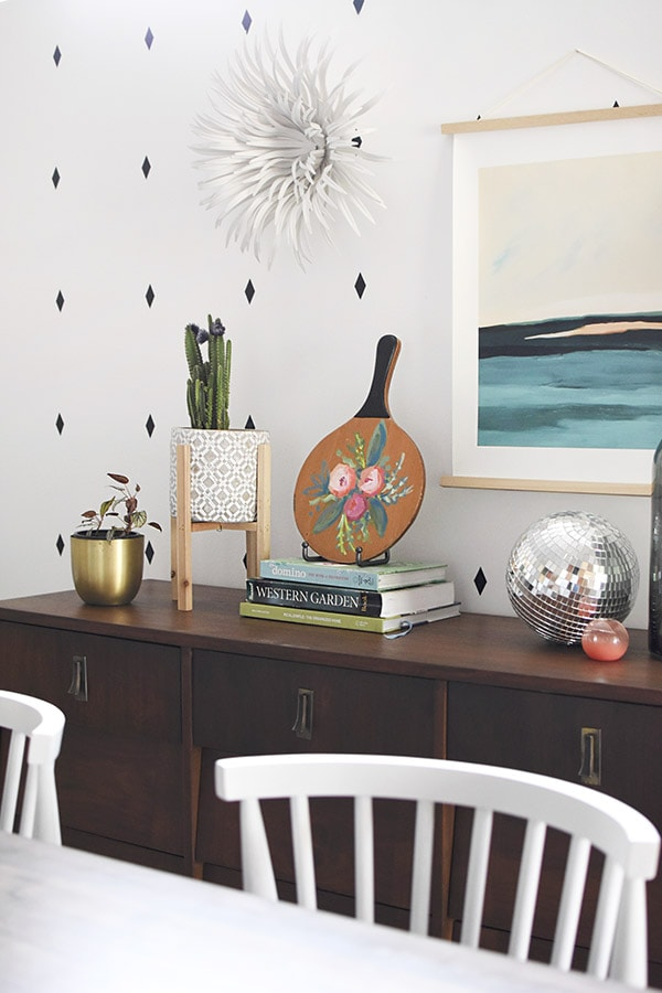 Painted Flowers on sideboard table