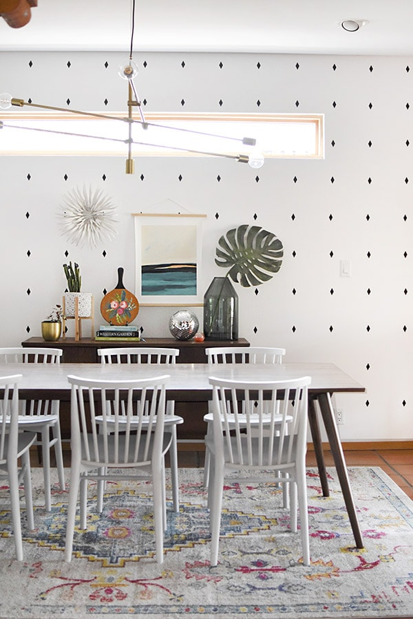 Painted Abstract Flowers in Dining Room