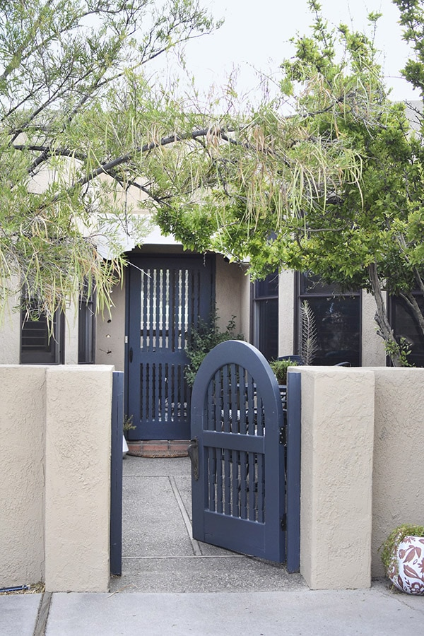 Dusty Blue Painted Outdoor Gates